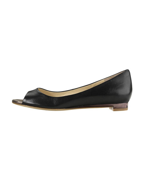 Astoria Peep-Toe Ballerina Flat, Black