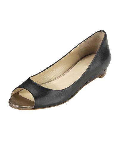 Cole Haan Astoria Peep-Toe Ballerina Flat, Black