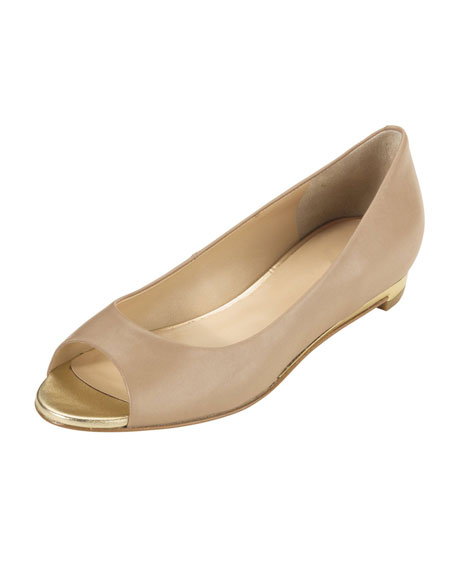 Astoria Peep-Toe Ballerina Flat, Sandstone