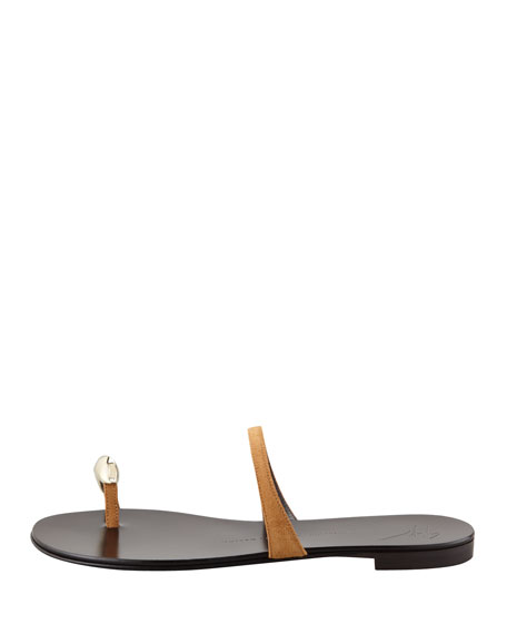 Suede Toe-Ring Sandal