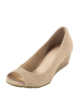 Cole Haan Air Tali Peep-Toe Wedge, Sandstone