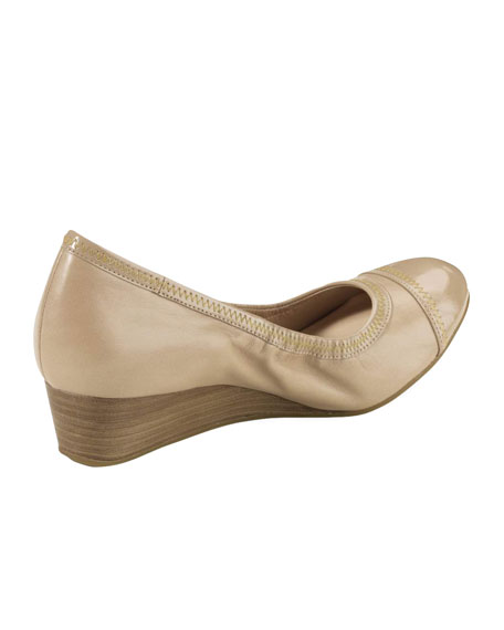 Milly Cap-Toe Wedge Pump, Sandstone