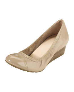 Cole Haan Milly Cap-Toe Wedge Pump, Sandstone