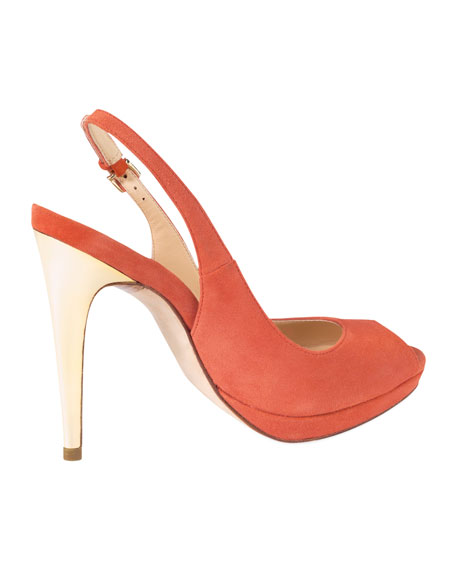 Chelsea Peep-Toe Slingback Pump, Orange Pop