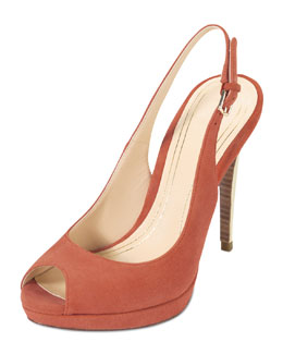 Cole Haan Chelsea Peep-Toe Slingback Pump, Orange Pop