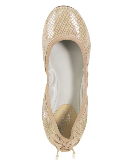 Air Bacara Backlace Ballet Flat, Sandstone Metallic Snake Skin