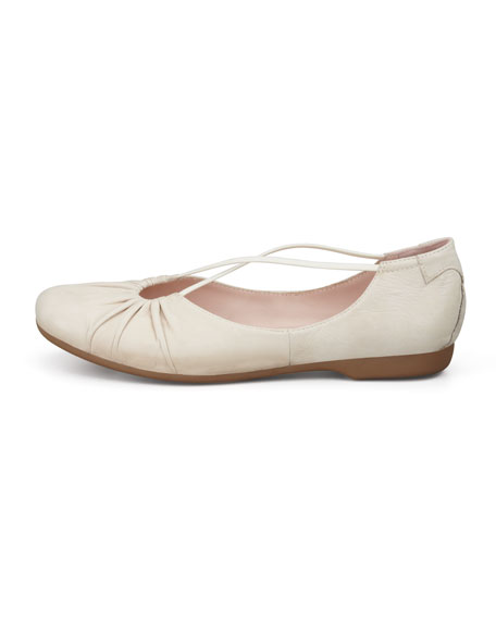 Bryan Ruched Crisscross Ballerina Flat, Bone