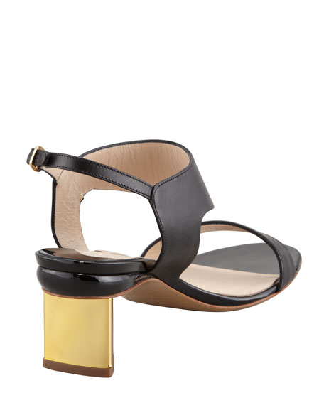 Metallic-Heel Leather Sandal, Black