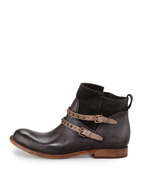 Emma Stud-Strap Flat Boot, Anthracite