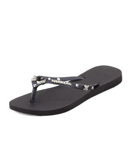 Slim Studded Flip-Flop, Black