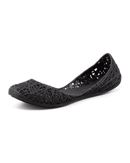 Melissa Shoes Melissa + Campana Papel III Glitter Jelly Flats, Black