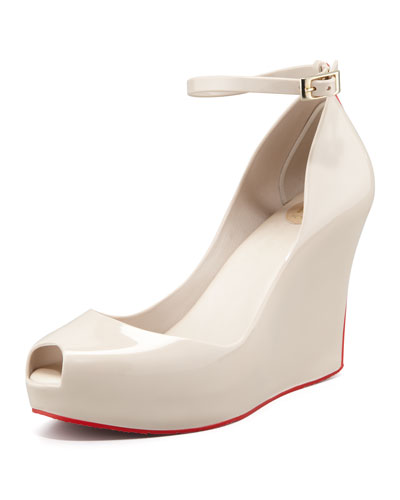 Melissa Shoes Patchouli V Wedge, Cream/Red