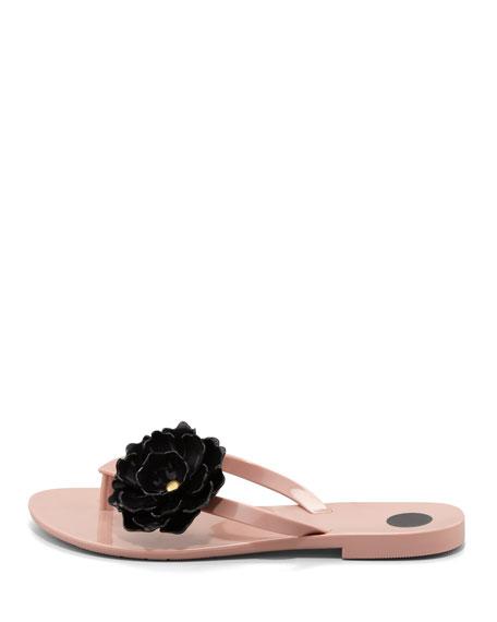 Harmonic Floral Thong Sandal, Nude