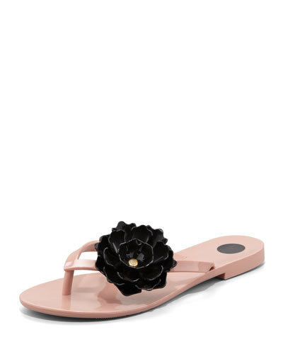 Melissa Shoes Harmonic Floral Thong Sandal, Nude