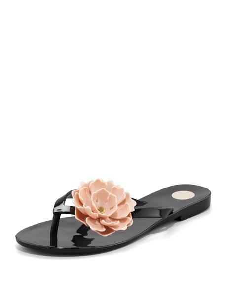 Harmonic Floral Thong Sandal, Black