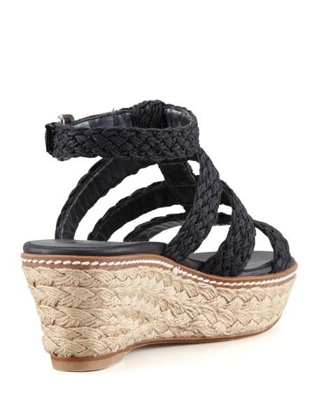 Haiti Crochet Jute Wedge Sandal, Black