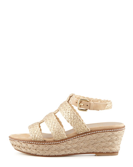 Haiti Crochet Jute Wedge Sandal, Gold