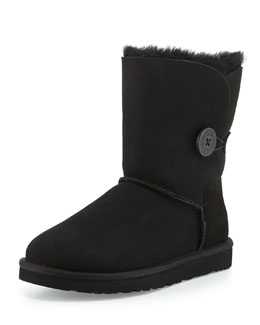 UGG Australia Monogrammed Bailey Button Short Boot, Black