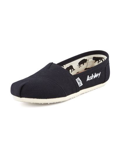 TOMS Personalized Classic Canvas Slip-On, Black