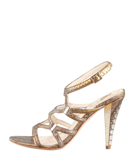 Vogue Metallic Snake-Print Sandal