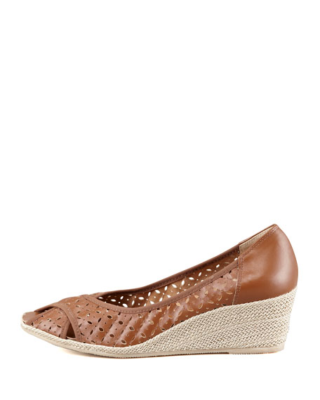 Maddy Perforated Espadrille Wedge, Natural