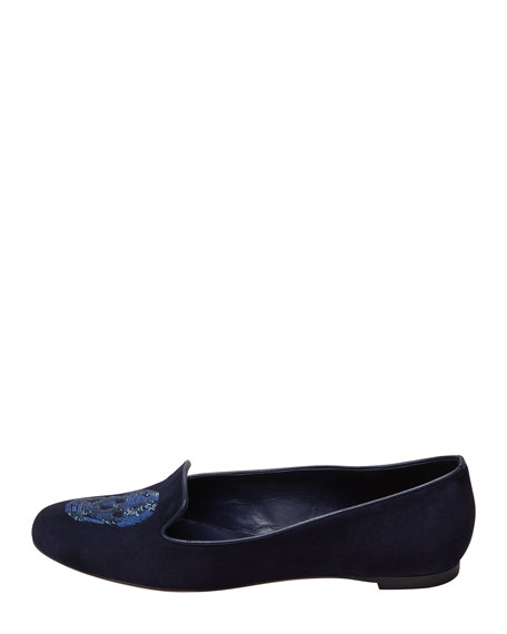 Embroidered Sequined Skull Smoking Slipper, Navy