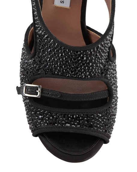Bailey Double Ankle Wrap Crystal-Embellished High Heel