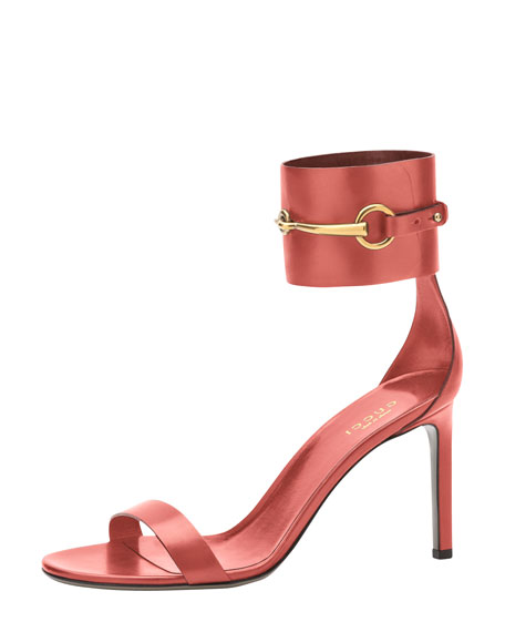 Horsebit Patent Ankle-Wrap Sandal, Rose Drage