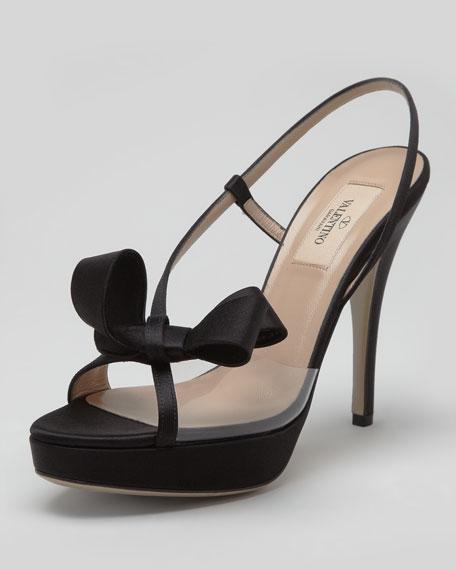 PVC & Satin Slingback Bow Sandal, Black