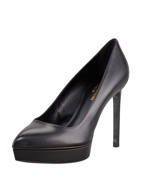 Janis Pointed-Toe Platform Pump, Black