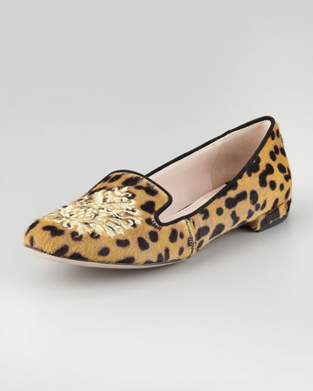 Leopard Calf Hair Embroidered Slipper