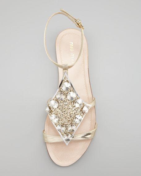 Embellished Lame Sandal