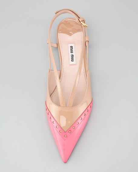 Double-Buckle Bicolor Ballerina Flat, Pink/Nude