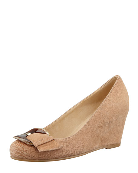 Bucalina Buckled Demi-Wedge Pump, Nude