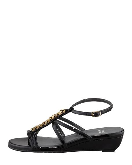 Tiffy Chain-Trim Wedge Sandal, Black