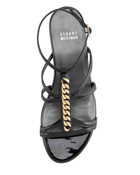 Tiffy Chain-Trim Wedge Sandal, Black
