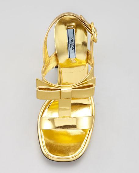 Metallic Specchio Bow T-Strap Sandal