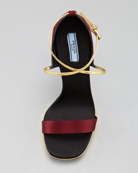 Single Band Satin and Metallic Leather Sandal