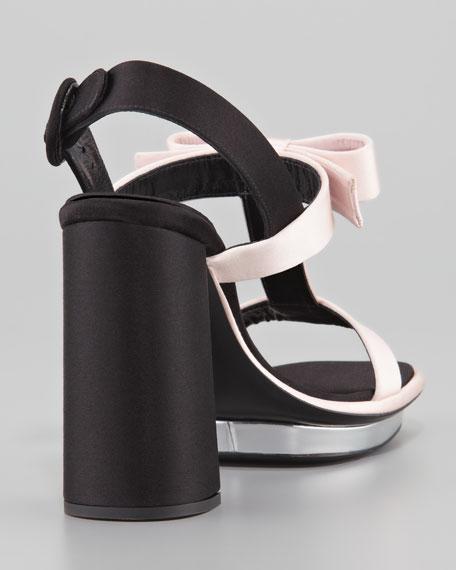 Satin Bow T-Strap Sandal, Pink