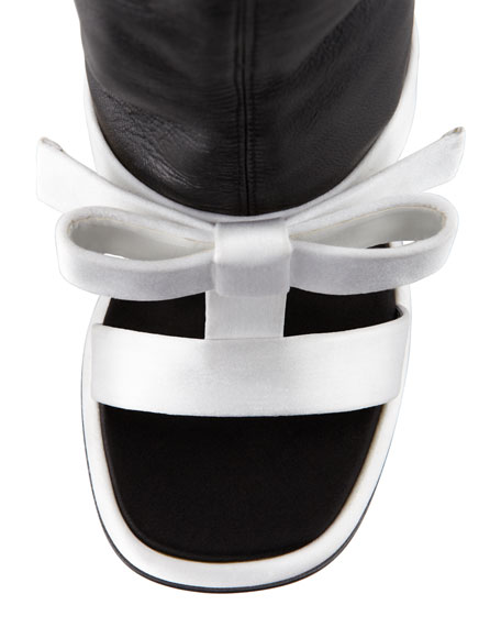 Satin & Leather T-Strap Ankle Boot Sandal, Black/White