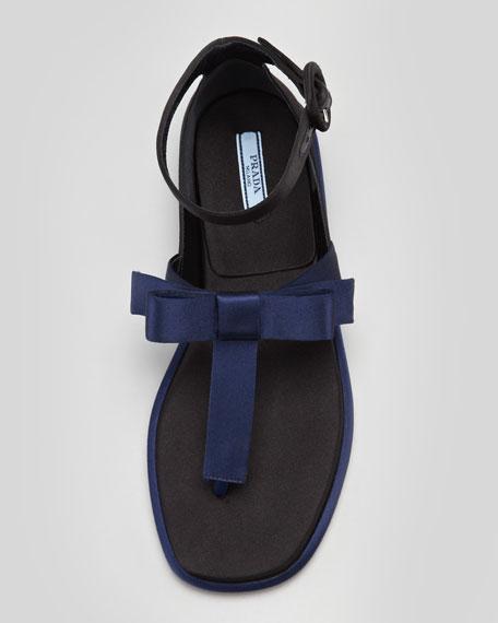 Satin Bow T-Strap Thong Sandal