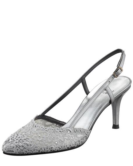 Lady Lace Kitten-Heel Slingback Pump