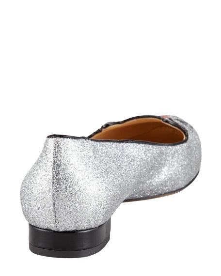 Kitty Glitter Flat Slipper, Silver