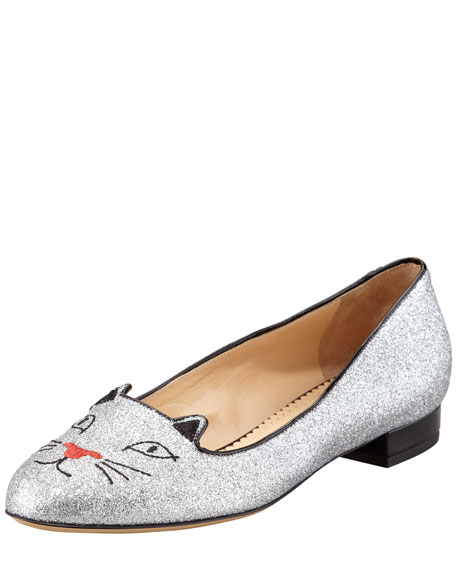 Kitty Glitter Flat Slipper, Silver