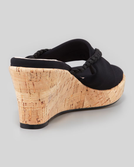 Keely Braided Cork-Wedge Sandal, Black