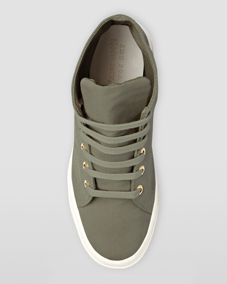 Hi-Top Faille Lace-Up Sneaker, Truffle