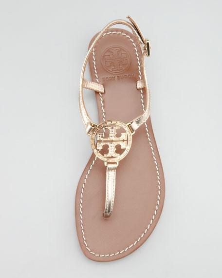 Violet Metallic Crystal-Logo Thong Sandal