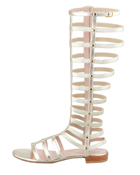 Gladiator Metallic Stretch Sandal, Cava