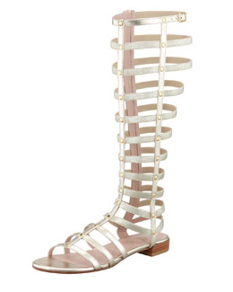 Stuart Weitzman Gladiator Metallic Stretch Sandal, Cava (Made to Order)