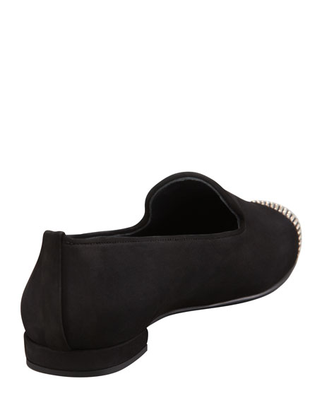 Lingo Nubuck Stud Detail Smoking Slipper, Black